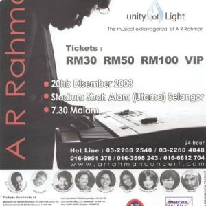 A.R.Rahman : UNITY OF LIGHT TOUR 2003 Malaysia | インド映画 コンサート